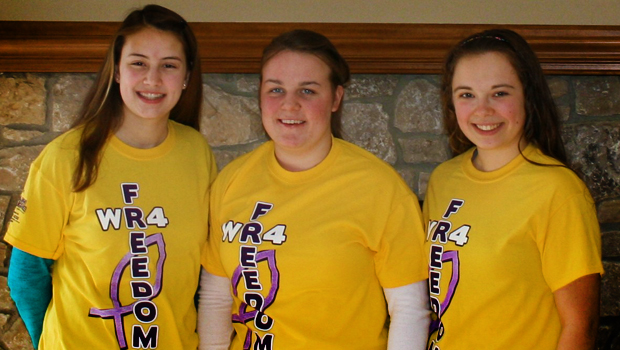 The Walk/Run4Freedom Team (l-r): Taylor, Emily, and me
