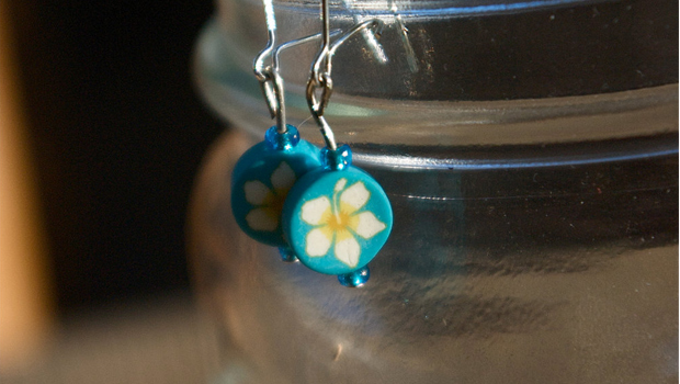 Dangle Earrings - Blue and Yellow Flower by Emilie
