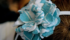 Fabric Flower Headband - Blue and White by Emilie