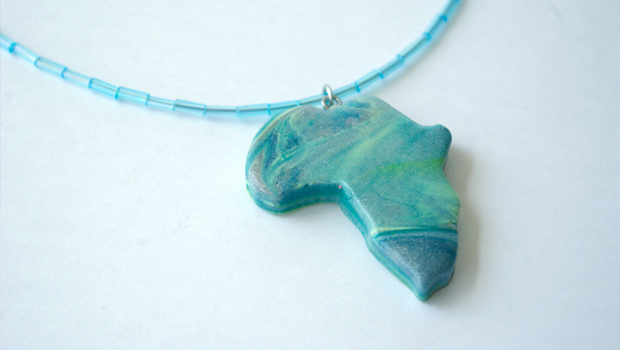 Africa Necklace - Blue Swirls by Emilie